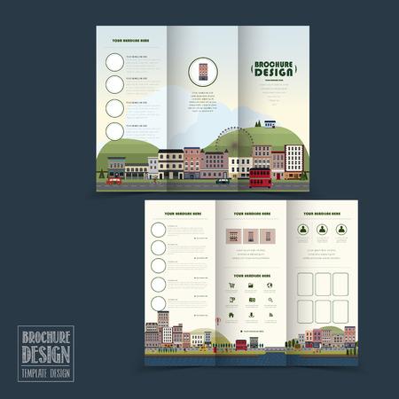 Illustration pour adorable town scenery tri-fold brochure template in flat design - image libre de droit