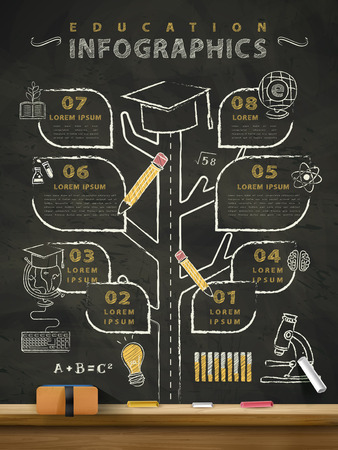 Ilustración de creative education infographics blackboard with a tree grown up and divided into different road - Imagen libre de derechos