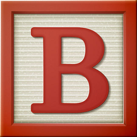 Illustration for close up look at 3d red letter block B - Royalty Free Image