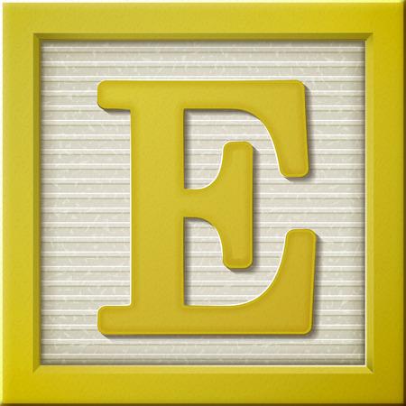 Ilustración de close up look at 3d yellow letter block E - Imagen libre de derechos