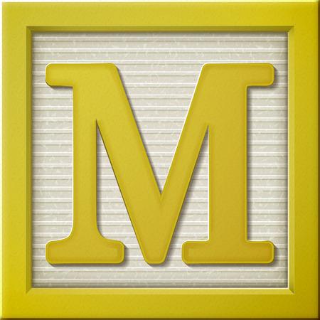 Ilustración de close up look at 3d yellow letter block M - Imagen libre de derechos