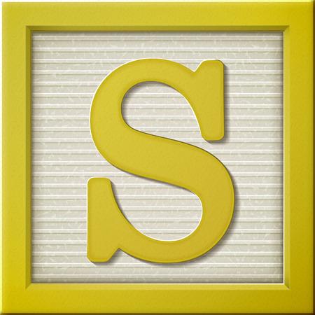 Ilustración de close up look at 3d yellow letter block S - Imagen libre de derechos