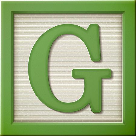 Ilustración de close up look at 3d green letter block G - Imagen libre de derechos