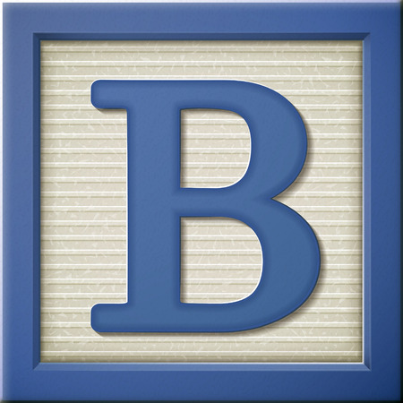 Illustration for close up look at 3d blue letter block B - Royalty Free Image