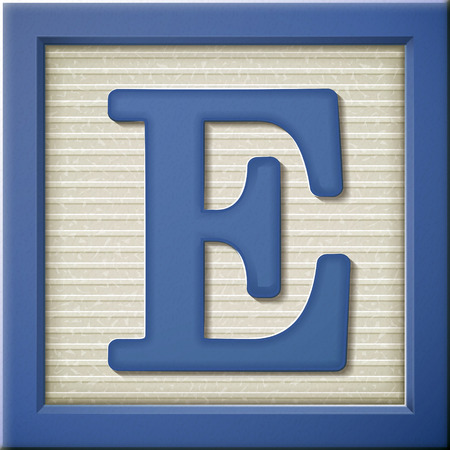 Ilustración de close up look at 3d blue letter block E - Imagen libre de derechos