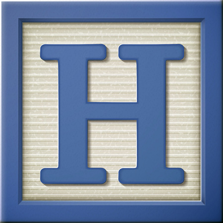 Ilustración de close up look at 3d blue letter block H - Imagen libre de derechos