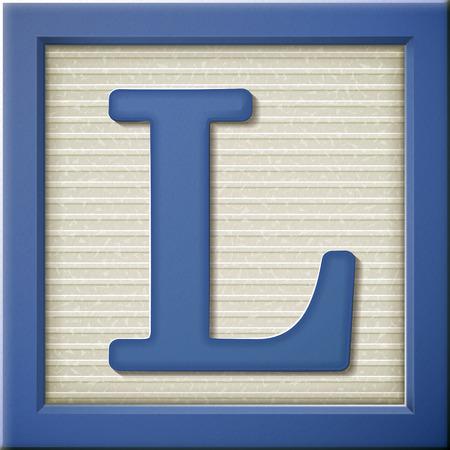 Ilustración de close up look at 3d blue letter block L - Imagen libre de derechos