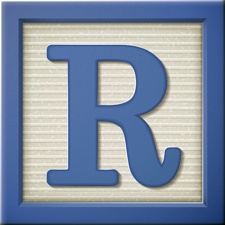 Illustration for close up look at 3d blue letter block R - Royalty Free Image