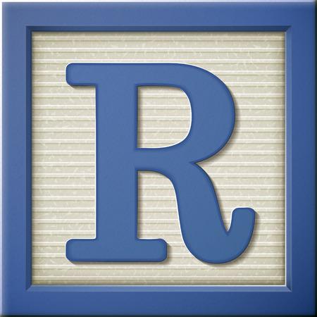 Ilustración de close up look at 3d blue letter block R - Imagen libre de derechos