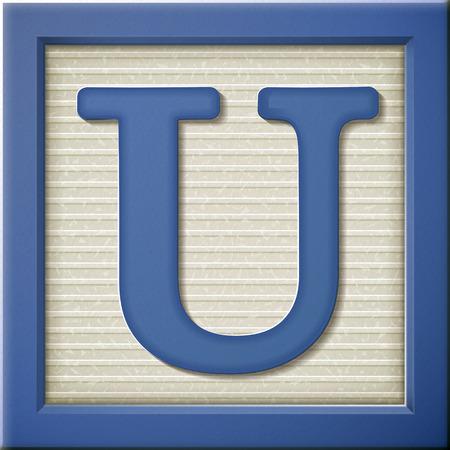 Ilustración de close up look at 3d blue letter block U - Imagen libre de derechos