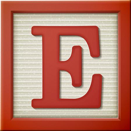 Ilustración de close up look at 3d red letter block E - Imagen libre de derechos