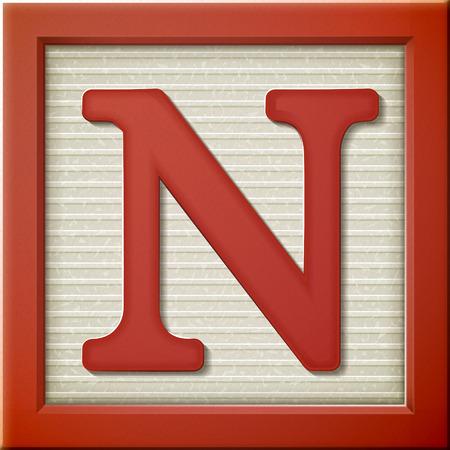 Ilustración de close up look at 3d red letter block N - Imagen libre de derechos