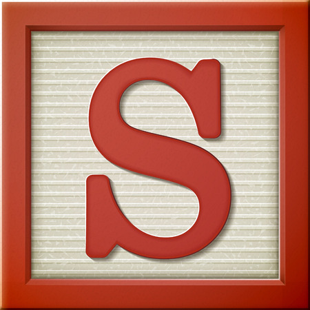 Illustration for close up look at 3d red letter block S - Royalty Free Image