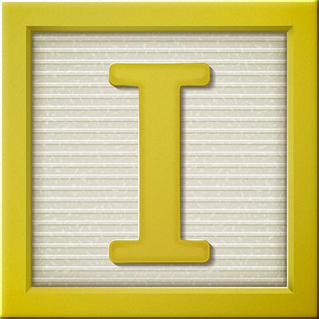 Ilustración de close up look at 3d yellow letter block I - Imagen libre de derechos