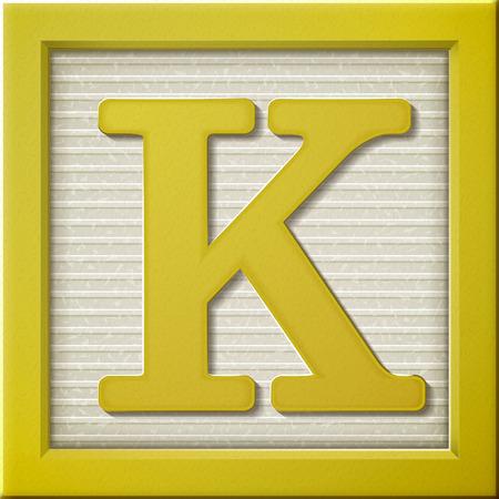 Ilustración de close up look at 3d yellow letter block K - Imagen libre de derechos