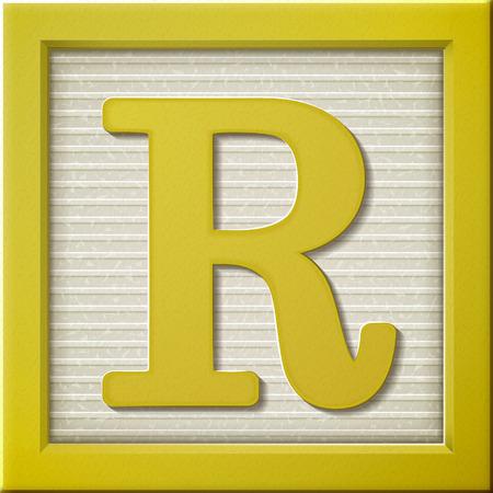 Ilustración de close up look at 3d yellow letter block R - Imagen libre de derechos