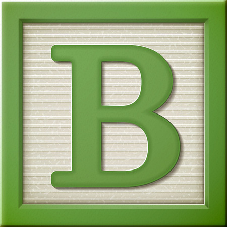 Illustration for close up look at 3d green letter block B - Royalty Free Image