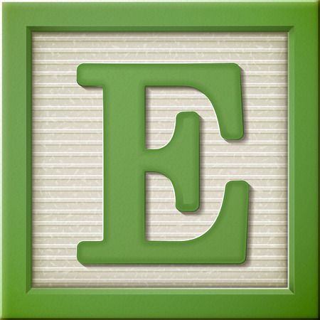 Ilustración de close up look at 3d green letter block E - Imagen libre de derechos