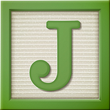 Ilustración de close up look at 3d green letter block J - Imagen libre de derechos