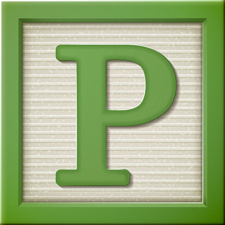 Illustration for close up look at 3d green letter block P - Royalty Free Image