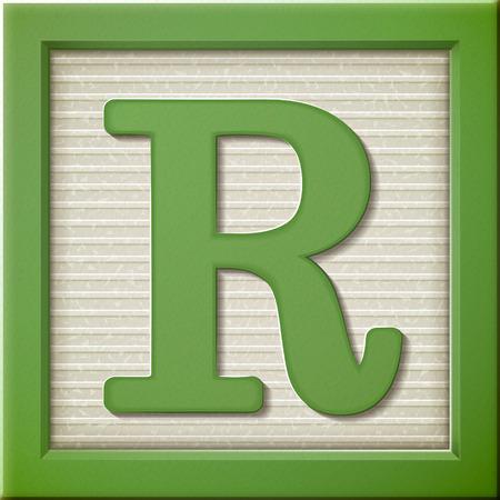 Ilustración de close up look at 3d green letter block R - Imagen libre de derechos