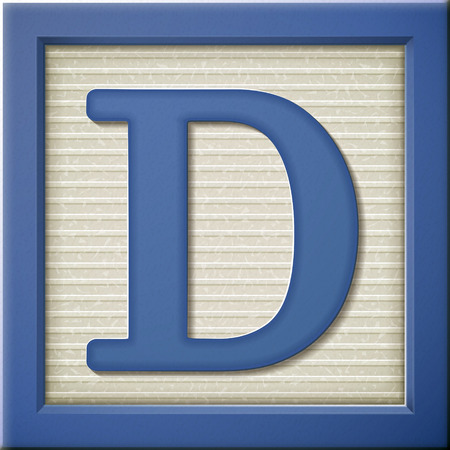 Illustration for close up look at 3d blue letter block D - Royalty Free Image