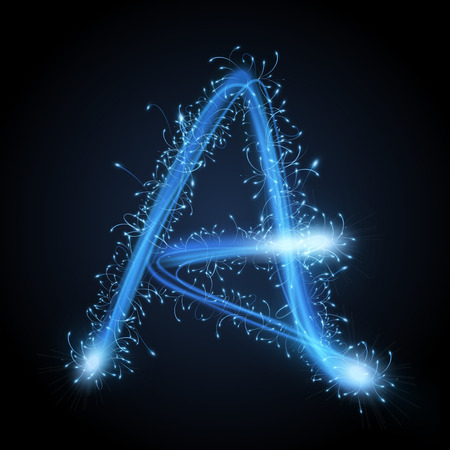 Ilustración de 3d blue sparkler firework letter A isolated on black background - Imagen libre de derechos