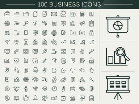 Ilustración de 100 business line icons set over beige background - Imagen libre de derechos