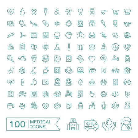 Illustration pour 100 medical icons set over white background - image libre de droit