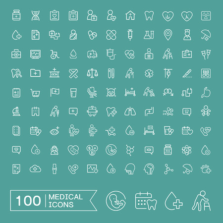 Illustration for lovely 100 medical icons set over turquoise background - Royalty Free Image