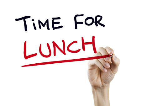 Photo for time for lunch words written by hand on a transparent board - Royalty Free Image