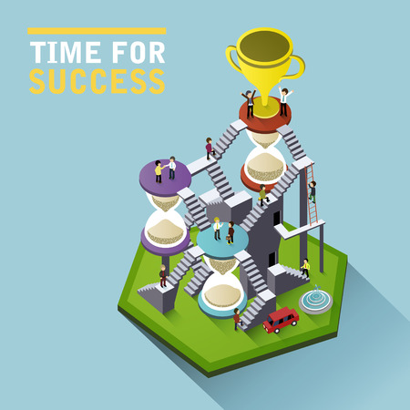 Illustration pour time for success flat 3d isometric infographic with people climbing hourglass stairs to reach the trophy - image libre de droit