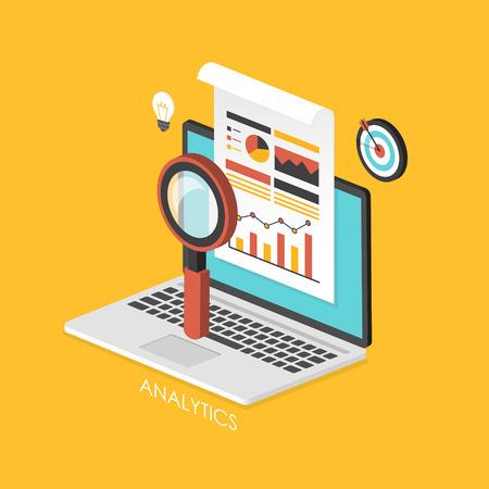 Illustration pour business concept 3d isometric infographic with laptop showing data analytics - image libre de droit