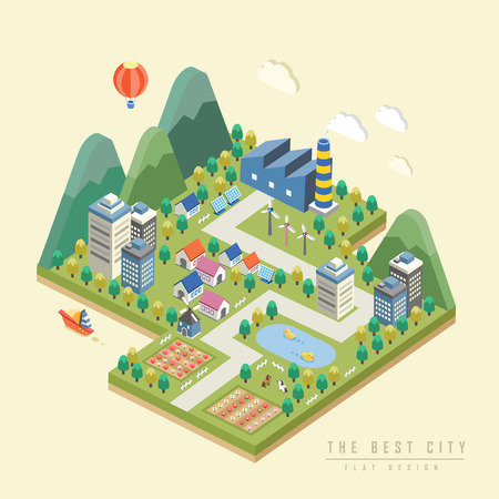 Illustration pour 3d isometric infographic with lovely city surrounded by mountains - image libre de droit