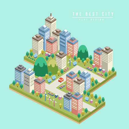Ilustración de modern city 3d isometric infographic with tall buildings - Imagen libre de derechos