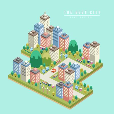 Illustration pour modern city 3d isometric infographic with tall buildings - image libre de droit
