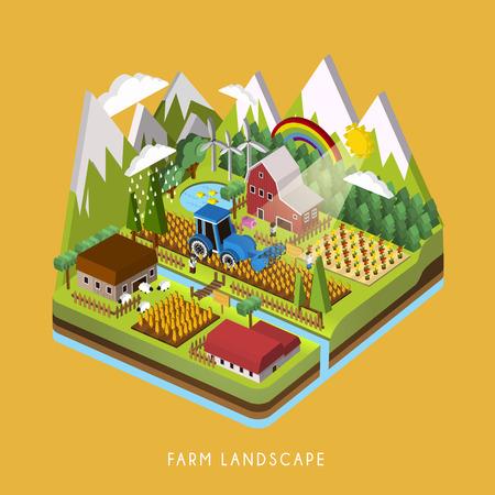 Illustration pour 3d isometric infographic for adorable farm landscape over yellow - image libre de droit