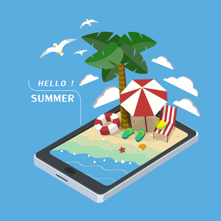 Illustration for summer recreation concept 3d isometric infographic with tablet showing beach scene - Royalty Free Image