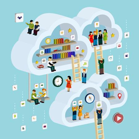 Illustration pour cloud service concept 3d isometric infographic with a man taking out a book from internet - image libre de droit