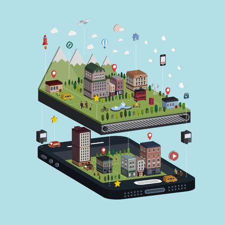 Ilustración de navigation concept 3d isometric infographic with adorable city scene - Imagen libre de derechos