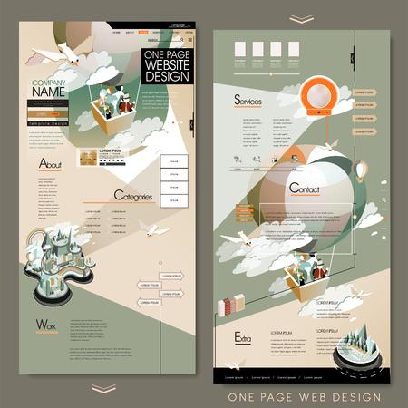 Illustration pour adorable one page website template design with hot air balloon tourism concept - image libre de droit