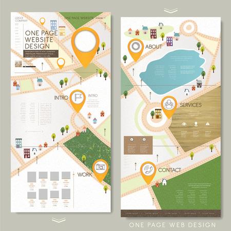 Ilustración de childlike one page website template design with lovely town map - Imagen libre de derechos