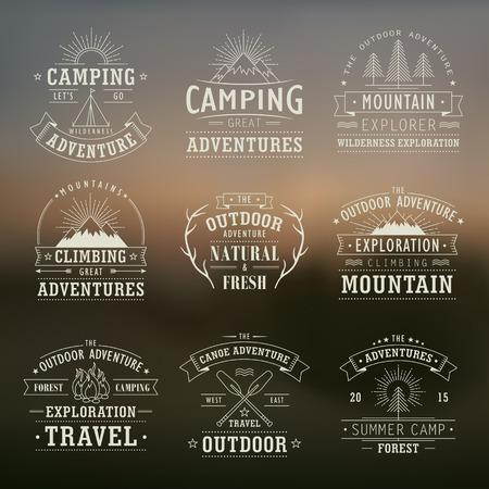 Illustration pour set of wilderness and nature exploration vintage emblems - image libre de droit