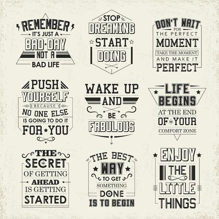 Illustration pour life quotes set isolated on beige background - image libre de droit