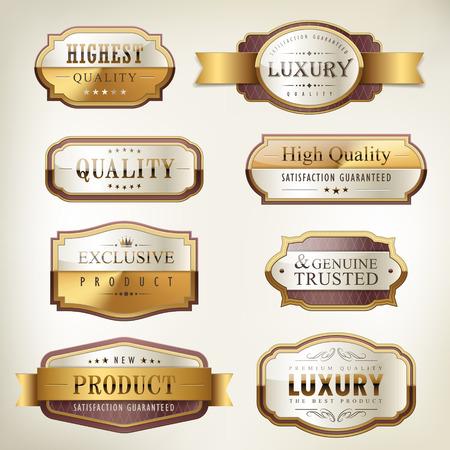 Ilustración de luxury premium quality golden plates collection over pearl white background - Imagen libre de derechos