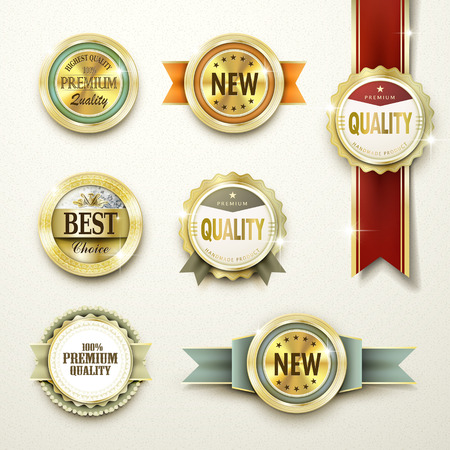 Illustration pour premium quality gorgeous golden labels collection over beige - image libre de droit