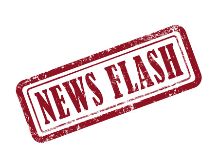 Illustration for stamp news flash in red over white background - Royalty Free Image