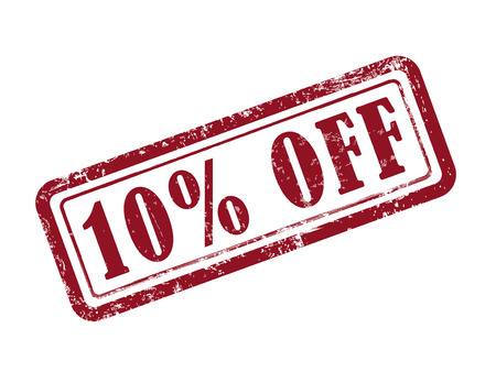 Illustration pour stamp 10 percent off in red over white background - image libre de droit