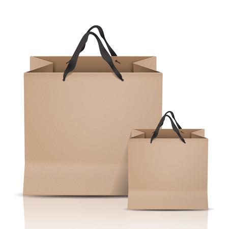 Ilustración de kraft paper bags set isolated on white background - Imagen libre de derechos