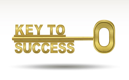 Illustration pour key to success - golden key isolated on white background - image libre de droit